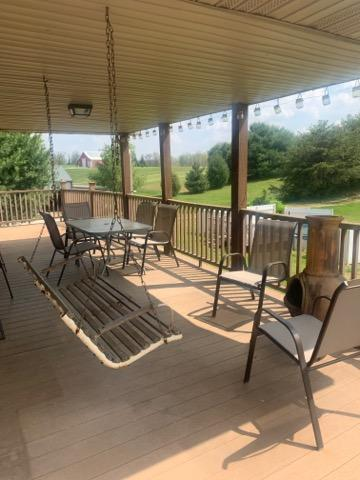 Covered upper level deck